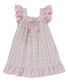 Look at this #zulilyfind! Lavender Gingham Angel-Sleeve Dress - Infant #zulilyfinds