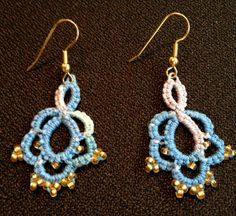 Needle Tatting - Beaded Denim Blue Earrings