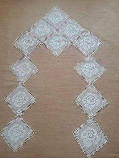 Crochet Flower Squares, Crochet Flowers, Baby Knitting Patterns, Crochet Patterns, Crochet Curtains, Prayer Rug, Crochet Art, Hand Embroidery, Diy And Crafts