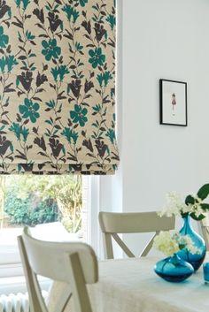 Camellia Teal Roman blinds Blinds For You, Roller Blinds, Vintage Patterns, Valance Curtains, Dining Room, Camellia, Interior Design, Inspiration