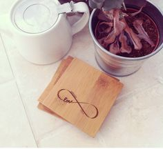 Set of 4 Custom Engraved Bamboo Coasters Wedding by woodbemine, $24.00 #wedding #gift