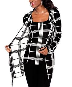 bb08e04ba705 Another great find on  zulily! Black  amp  Ivory Plaid Tank  amp  Open