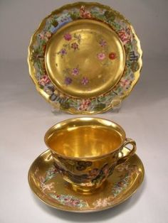 Lot: 1096: GILT ENAMELED CAPODIMONTE 3 PC CUP SAUCER PLATE, Lot Number: 1096, Starting Bid: $40, Auctioneer: Auctions Neapolitan , Auction: Session 3 - Antiques & Decorative Arts, Date: February 17th, 2007 CST