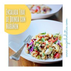 Ensalada Thai de Quinoa con marañon. Tiene muchísimos ingredientes estupendos para tu salud : las zanahorias, el repollo, los marañones, el chile dulce, etc… Todos aportan muy buenos nutrientes a tu cuerpo. El estilo de la receta, por los ingredientes es un tanto asiatico por lo que se presta para que te sientas un poco exótica al prepararla y comerla, sabemos que la disfrutarás!