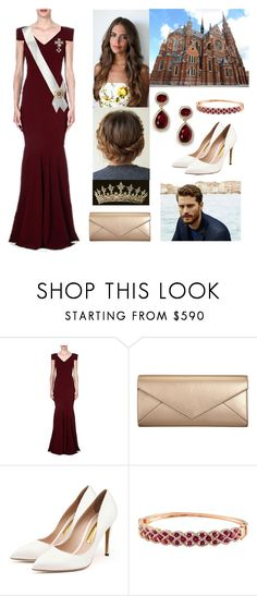 """""""FOR CONTEST: Flashback: Amelia and Patrick attending the wedding of Prince Gregory of Croatia"""" by hrh-amelia-of-croatia ❤ liked on Polyvore featuring Roland Mouret, Erickson Beamon, Smythson, Rupert Sanderson and Effy Jewelry"""