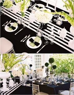 Black White Striped Tablescape Wedding