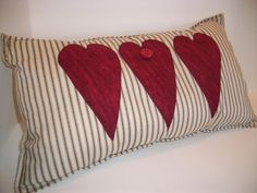 Decorative Heart Pillow Cottage Chic/Shabby Chic  by:-myrnaneal