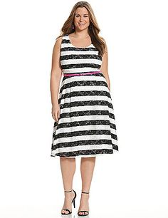 7fe62e3f452 Plus Size Striped lace skater dress Lane Bryant Women s Size white