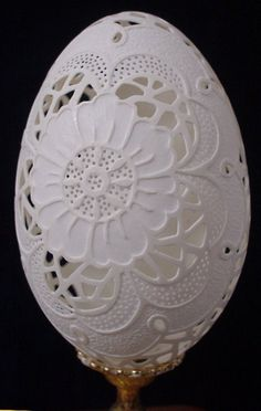 Carved goose eggshell - flower pattern. Start with flower in center like this one.