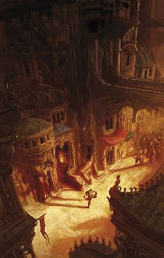 """Cover art for the book """"Dying Earth"""", by Marc Simonetti. Book by Jack Vance. Fantasy City, Fantasy Places, Fantasy World, Fantasy Concept Art, Fantasy Story, Fantasy Books, Illustration Art, Illustrations, Underground Cities"""