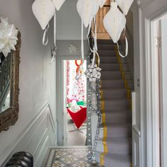 Looking for traditional hallway decorating ideas? Take a look at this classic white hallway from Livingetc for inspiration. For more hallways ideas, such as how to create a streamlined scheme, visit our hallway galleries Tiled Hallway, Hallway Carpet, Carpet Stairs, Hall Tiles, Edwardian House, Victorian Terrace, Victorian Homes, Victorian Hallway, Yellow Stairs