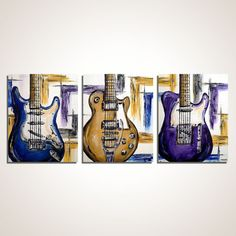Guitar painting, Purple, Yellow, Blue Music Wall Decor, Guitar Wall Art, Gift for him, Strat, Les Paul, Guitar Painting on Canvas