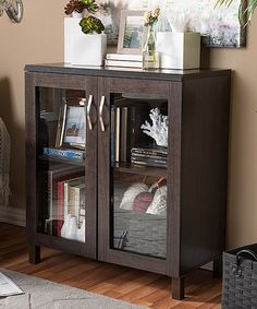 Shop Baxton Studio Zentra Modern and Contemporary Dark Brown Sideboard Storage Cabinet with Glass Doors - Overstock - 10315249 Glass Cabinet Doors, Glass Doors, Mdf Frame, Dining Room Bar, Baxton Studio, Door Storage, Komodo, Bar Furniture, Online Furniture