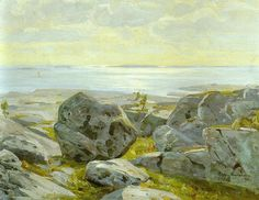 """""""Victor Westerholm Coastal View from Alandia oil on canvas 38 x 55 cm """" North Europe, Late Autumn, Chur, Oil On Canvas, Scandinavian, Coastal, Victoria, Painting, Exhibitions"""