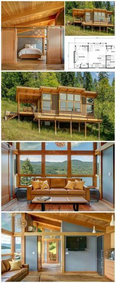 550 sq ft prefab timber cabin. Love this layout.