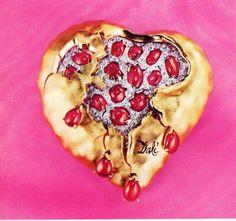 Salvador Dali gold, diamonds and coral.