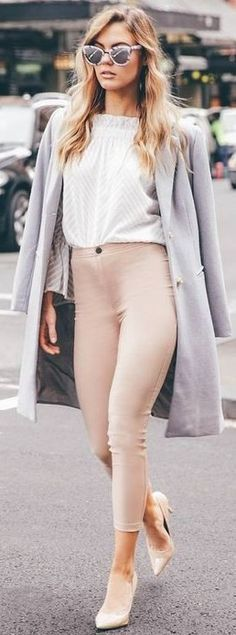 #fall #executive #peonies #outfits | Grey Coat + White Top + Nude Pants