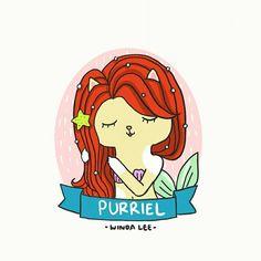 Purriel 🌊💙   #disneyprincess #littlemermaid #ariel #catlover #cutedrawing #drawings #doodle #windalee #dailydoodle #princess #fantasy #fairytale #illustrations #cartoon