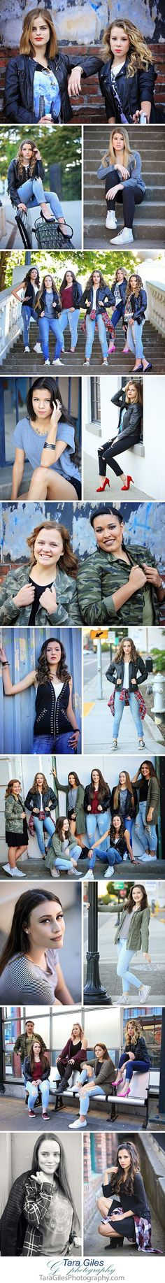Tara Giles Photography Senior Models in downtown Tacoma for an urban style group photo shoot.