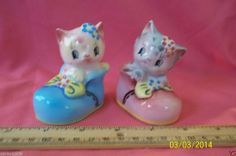 Vintage Anthropomorphic Colorful Kitty in Boots Set Salt Pepper Shakers