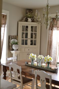 Wood Table With White Chairs And White Corner Hutch Part 54
