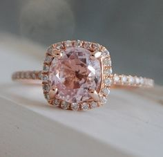 on hold -1.8ct Square Cushion Peach Champagne Sapphire 14k rose gold diamond  Engagement Ring