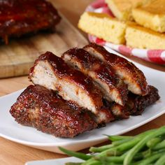 Baby Back Ribs One-Pan BBQ Baby Back Ribs. Minus the sugar and sauce. SMcOne-Pan BBQ Baby Back Ribs. Minus the sugar and sauce. Pork Recipes, Cooking Recipes, Healthy Recipes, Cooking Tv, Healthy Breakfasts, Tasty Videos, Food Videos, Bbq Baby Back Ribs, Baby Back Pork Ribs