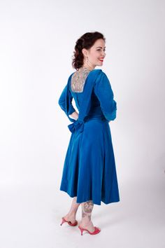 1950s Vintage Dress Turquoise Velvet 1950s Vintage Party Dress with Back Drape Size Small