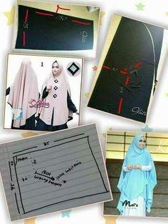 Tutorial pola hijab Clothing Patterns, Sewing Patterns, Modele Hijab, Turban Hijab, Hijab Cartoon, Dress Making Patterns, Hijab Tutorial, Abaya Fashion, Sewing Clothes