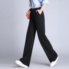 Korean Womens Casual Leisure Wide Leg Suit Pants Dress High Waist Loose Trousers