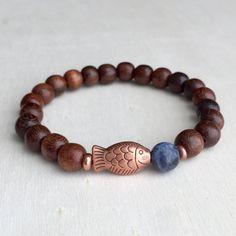 FREE SHIPPING  Men's bracelet  Sodalite and wood bracelet Beaded bracelet Abundance and prosperity bracelet Gift for him   (#59)