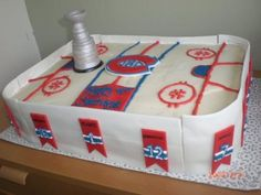 Hockey Cake for Carter make it guelph storm Hockey Birthday, Hockey Party, Birthday Cake, Montreal Canadiens, Hockey Cakes, Sport Cakes, Infused Water Bottle, Gateaux Cake, Fitness Gifts
