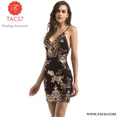 Ladies Apparel Dress Cocktail Party Dress. 2018 Womens Gold Black Sequin  Dress Sexy V-Neck Backless Women Dresses Sundress Luxury Party Club Wear  Mini ... 3c8d4b2707ef