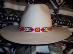 American Indian Bead Loom Patterns | Native American Style, Arrows & Diamonds Pattern, Hand Loom Hat Band ...