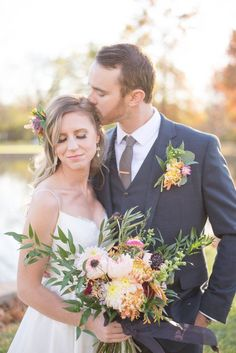 Soft Kisses, fall wedding, photo by Monica Brown Photography www.monicabrownphoto.com