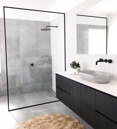Bathroom inspiration by . Loving the black framed shower screen, contrast of tiles and concrete basin. Bathroom inspiration by . Loving the black framed shower screen, contrast of tiles and concrete basin. Grey Bathroom Tiles, Grey Bathrooms, Modern Bathroom Design, Bathroom Flooring, Bathroom Interior Design, Small Bathroom, Bathroom Black, Bathroom Sinks, Bathroom Cabinets