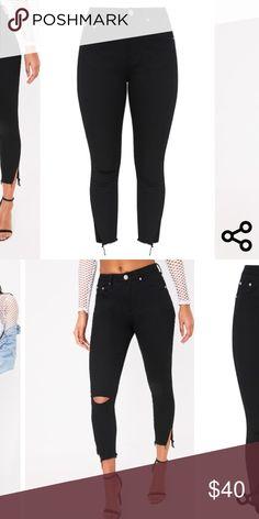 Black Split Hem Detail Slim Jean New SIZE 8 Pretty Little Thing Jeans