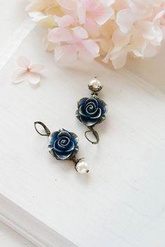 Navy Blue Flower Dangle Earrings Gold Petal Dark Blue by LeChaim