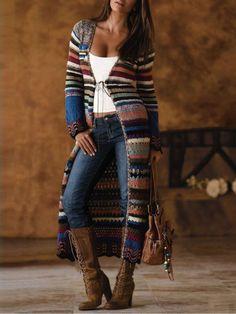 Blue Vintage Printed Knitted Patchwork plus size Outerwear Boho Fashion, Autumn Fashion, Fashion Outfits, Fashion Ideas, Estilo Cowgirl, Mode Hippie, Hippie Chic, Estilo Country, Plus Size Outerwear