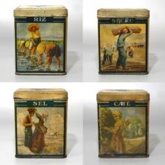 Vintage French TIN Canister SET Stamped Biscuiterie Nantaise BN Nantes 4 PCS | eBay