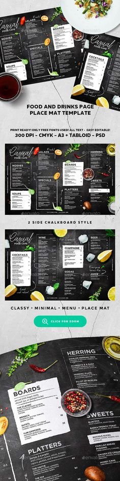 Chalkboard Cafe Menu — Photoshop PSD #drink #restaurant • Available here → https://graphicriver.net/item/menu-template/19547900?ref=pxcr