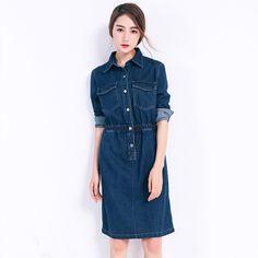 Korean Fashion Retro Demin Long-sleeved Elastic Waist Lapel Dress SD02264