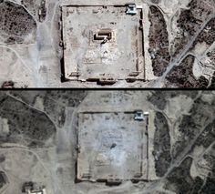 Dos imágenes aéreas del antes y el ahora del Templo de Bel en Palmira, destruido por el Ejército Islámico (Reuters, 2015)