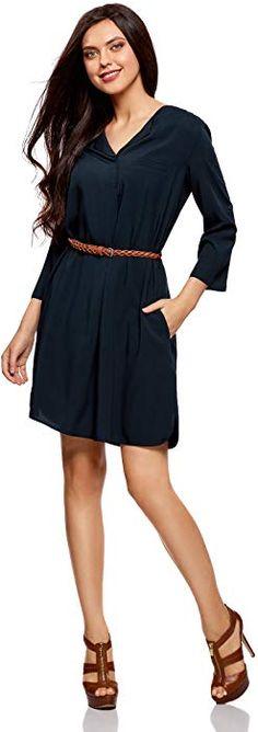 oodji Ultra Femme Robe en Viscose avec Ceinture, Bleu, FR 36   XS  Amazon.fr   Vêtements et accessoires 79d80d268597