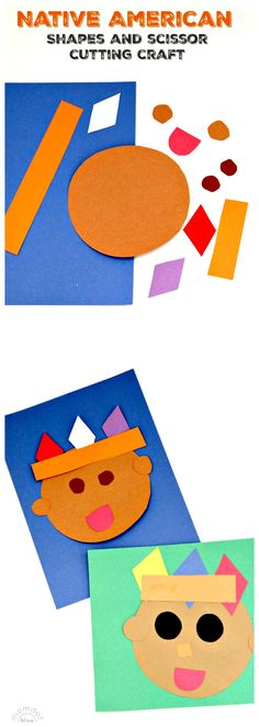Native American Shape Kids Crafting: Great practice cutting out with scissors too!