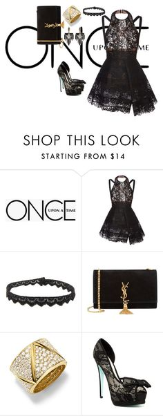 """fashion"" by fatimanazstar ❤ liked on Polyvore featuring Once Upon a Time, Elie Saab, Yves Saint Laurent, Marina B, Betsey Johnson, Lulu Frost and black"