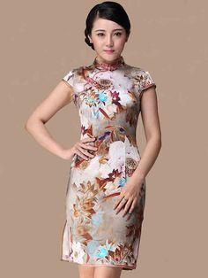 Brown Floral Short Silk Cheongsam / Qipao Dress