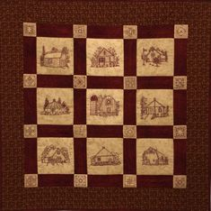 Quilt Barns Quilt Pattern - Redwork Hand Embroidery Blocks & Quilt Finishing Pattern - by Beth Ritte