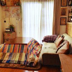 nicoさんの、ソファ,DIY,苔玉,コタツ出してしまった,ベッド周り,のお部屋写真