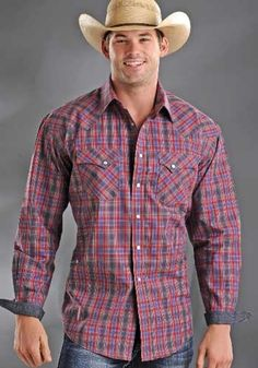 Mens Rough Stock Grey/Red/Blue Plaid Snap Shirt